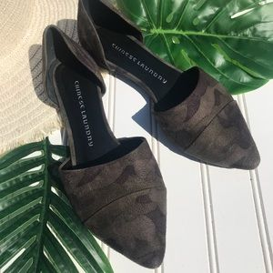 Chinese Laundry Camo Pointed Toe Flats